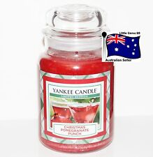 Yankee Candle * Christmas Pomegranate Punch * Large Glass Jar 22oz 150 Hours