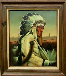LISTED Kenneth Su Portrait of Native American Chief Large Older Oil Painting NR
