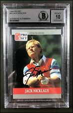 JACK NICKLAUS AUTOGRAPHED AUTO 10 1990 PRO SET #93 GOLF CARD BECKETT SLABBED