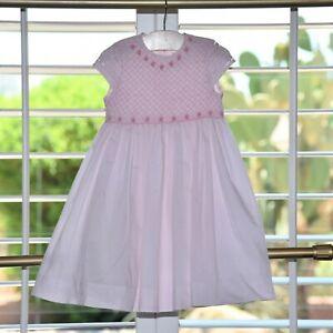Luli & Me Girls Pink Smocked Flower pearl Dress Size 3T EUC
