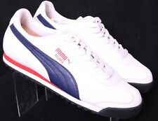 Puma 353572 Roma Basic Navy Red White Athletic Sport Lifestyle Mens US 10 EU 43