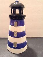 Lighthouse Tealight Candle Holder Bella Casa by Ganz Ceramic Nautical Decor