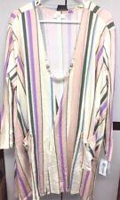 NWT LuLaRoe 2XL Cream Pink Blue Green Purple Striped Caroline Cardigan Sweater