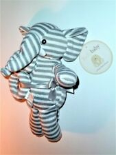 KELLYTOY BABY GREY WHITE STRIPE ELEPHANT RATTLE SWEATER KNIT PLUSH STUFFED ALDI