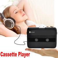3.5mm Jack Portable Cassette Player FM Radio Black Auto-reverse w/ Earphones