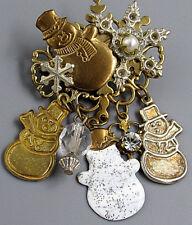 Vintage Jewelry Christmas Snowflake Snowman Dangle BROOCH PIN Rhinestone Lot X