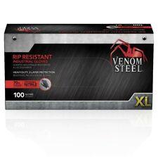 Venom Steel Heavy Duty Nitrile Black Glove 6mil Rip Resistance Size Xl 100 Ct