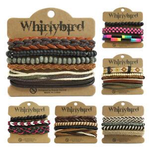 Unisex Whirlybird Stacker Leder Armband Surf Multi Reihen Lagen Stapel Armband