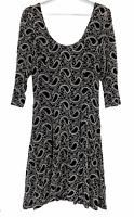 Caroline Morgan Womens Black Overlaying Cream Lace 3/4 Sleeve Lined Dress Sz 12