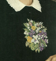 Floral Bouquet Sweater Cross Stitch Pattern from a magazine Flowers Waste Canvas