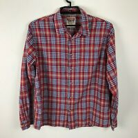 Wrangler Jeans Co Shirt Size XL Red Plaid Cotton Button Front Long Sleeve Mens