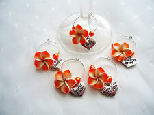 Frangipani Wine Glass Charm BRIDE, BRIDESMAID Wedding Favour Hen Party Gift Idea