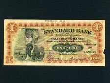 Rhodesia:P-S148,1 Pound,1939 * Standard Bank of South Africa * RARE *