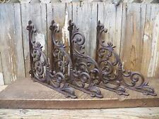 "Lot 4 Antique-Style Cast Iron RUSTIC X-LARGE 13"" x 13"" SHELVING BRACKETS Braces"