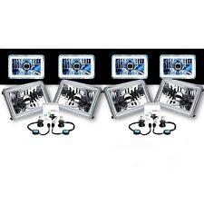 """4X6"""" White COB Halo Glass/Metal 6000K 4000LM LED Headlight H4 Light Bulb Set"""