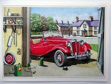 Nostalgic MG TD 1952 Red Car Pub Garage Tools Design Open Blank Birthday Card