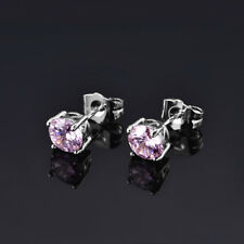 HUCHE Pink Diamond Sapphire Silver Studs White Gold Filled Lady Party Earrings