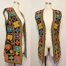 1970s Colorful Afghan Embroidered Vest - Button Front - Long - S/M