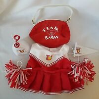 Build A Bear University Red White Cheerleader Outfit 6 Piece Bag Pennant BABW