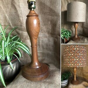Vintage Turned wooden Treen Carved Table lamp base ONLY Interiors Decor