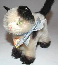 STEIFF Gussy Katze altes Stofftier hellblauer Schleife weiß schwarz 50er 6312 ?