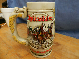 Vintage 1983 Budweiser Clydesdale Holiday Stein / Cameo Wheatland Design
