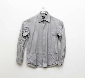 Hugo Boss Mens Black Pin Striped Long Sleeve Button Front Shirt - sz 39