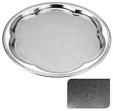 35cm Engraved Silver Coloured Metal Tray Silver Serving Tray Round Tea Tray