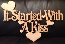 it started with a kiss wall plaque sign Valentines Craft Shape 300mm wide Wood