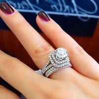 2.85Ct Round White Diamond Engagement Wedding Bridal Ring Set in 14k White Gold