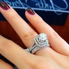 Certified 2.35Ct Round White Diamond Engagement Wedding Ring Set 14k White Gold
