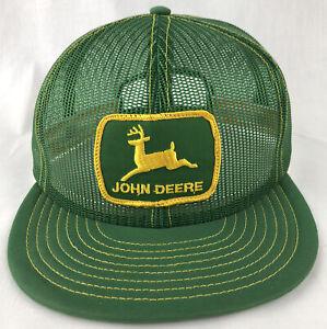 Vintage John Deere Patch SnapBack Trucker All Mesh Hat Cap Louisville USA Green
