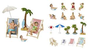 Dekofigur Urlaub, Miniatur Deko Strand Maritim für Geldgeschenke ua Hobbyfun kpl