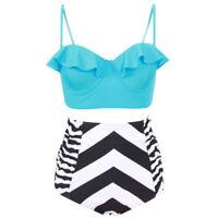 Women Floral Padded Strappy High Waist Bikini Set Swimwear Swimsuit Plus Size