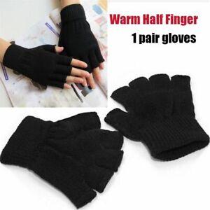 Men/Women Black handwear Fingerless Gloves Knitted glove Half Finger Warm
