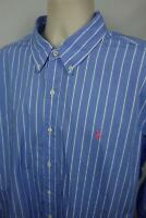 Ralph Lauren Mens 2XL Button Down Shirt Custom Fit LS Pink Pony Blue Stripe