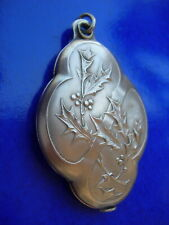 art nouveau french SILVER PLATED HOLLY SLIDE LOCKET PENDANT MIRROR of CHATELAINE