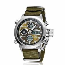 Military Men Army Analog Digital Quartz Nylon Canvas Wrist Watch Sport US Green
