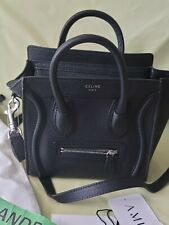 Celine Nano Luggage Shoulder Bag handbag Black Drummed Calfskin