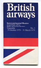 BRITISH AIRWAYS INTERCONTINENTAL TIMETABLE WINTER 1978/79 NO.1 SEAT MAPS VC10 70