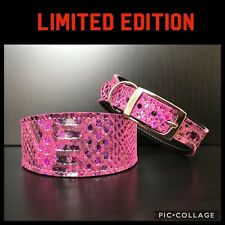 S/M Leather Dog Collar LINED Greyhound Whippet Saluki HOLOGRAPHIC SNAKE SKIN