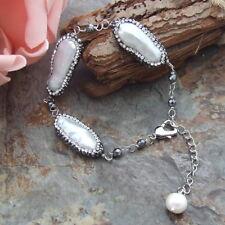 AB071710 8'' White Biwa Pearl Hematite Bracelet