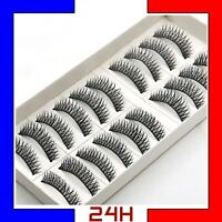 10 Paires Faux Cils à coller Long 3D Réutilisable Extension Fake Eye Lashes Set