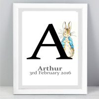 A4 Personalised Peter Rabbit Quote Print Unframed Wall Art Minimalist