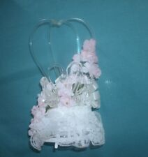 GLASS  TWO HEART  WEDDING CAKE TOPPER WITH PINK FLOWERS N LACE' ' TLC