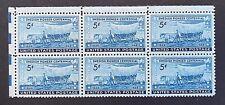 US Stamps, Scott #958 Swedish Pioneer Centennial 1948 5c Block of 6 XF/S M/NH