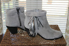 SAM EDELMAN Louie Booties SZ 8.5 M Ankle Boots Fringe Gray Suede Never Worn