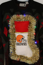 Ugly Christmas Sweater CLEVELAND BROWNS Mens SIZE Medium Lights Up #15D117