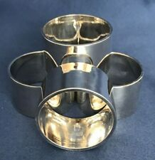 "4 Vintage Silverplated Napkin Rings/Holders Smooth Design On Sides 1 3/4"" Across"