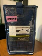 "MAX STUDIO HOME Set of 2 Standard ~ Navy ~ Cotton Corduroy SHAMS 21"" X 27"" ~ NIP"